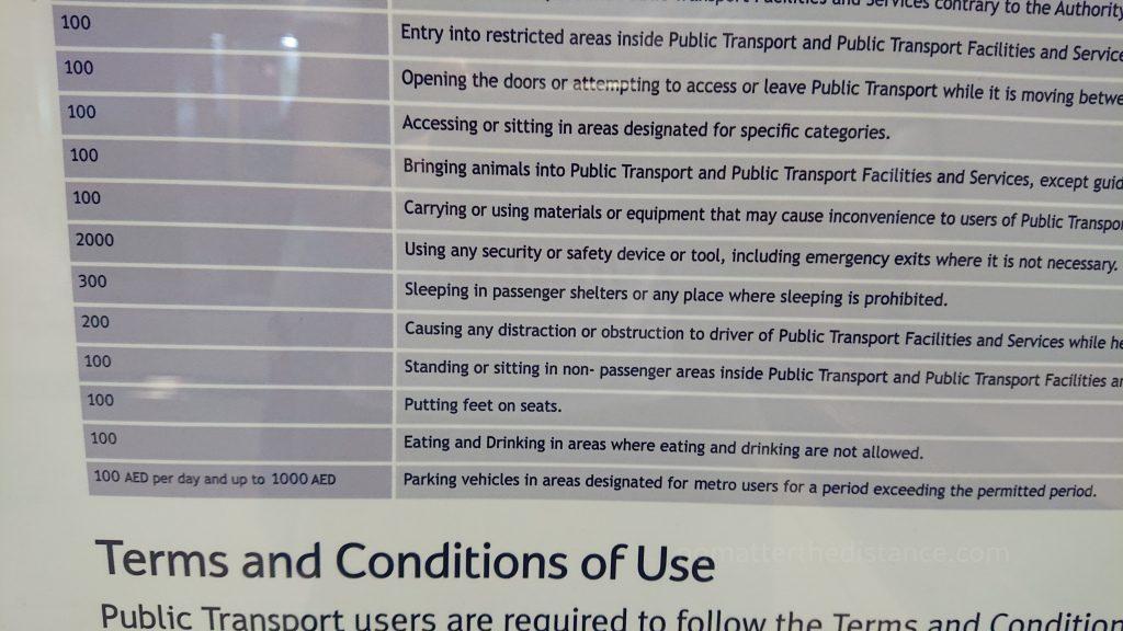 Tydzień w ZEA - Dubaj - lista rzeczy zabronionych w metrze